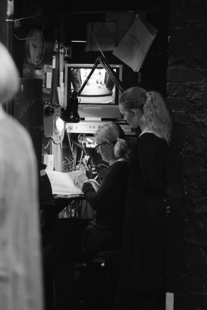 Back stage during the production of Blithe Spirit