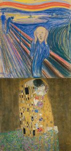 Disturbing and Delightful images from  The Scream by Edvard Munch and The Kiss paintings by Gustav Klimt