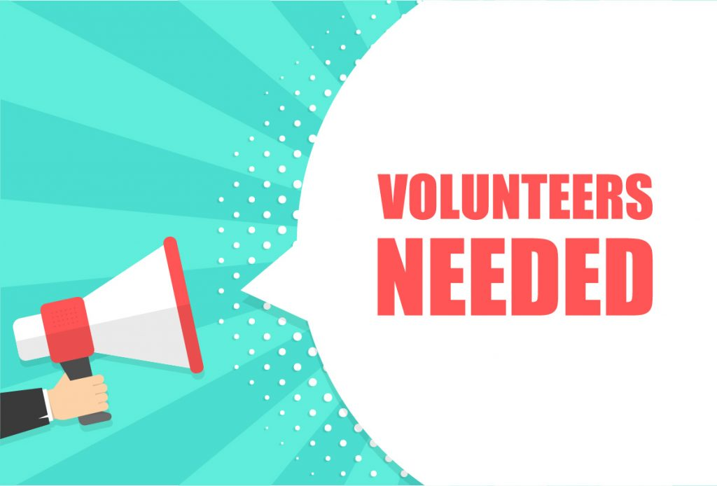 A graphic showing a megaphone shouting volunteers needed